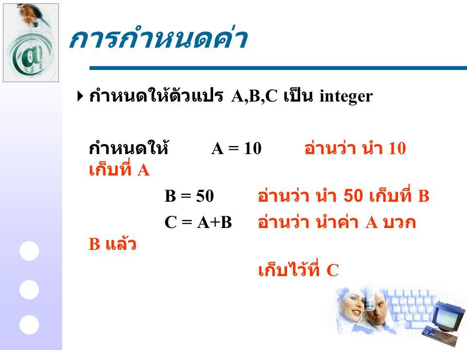 การกำหนดค่า  กำหนดให้ตัวแปร A,B,C เป็น integer กำหนดให้ A = 10 อ่านว่า นำ 10 เก็บที่ A B = 50 อ่านว่า นำ 50 เก็บที่ B C = A+B อ่านว่า นำค่า A บวก B แ