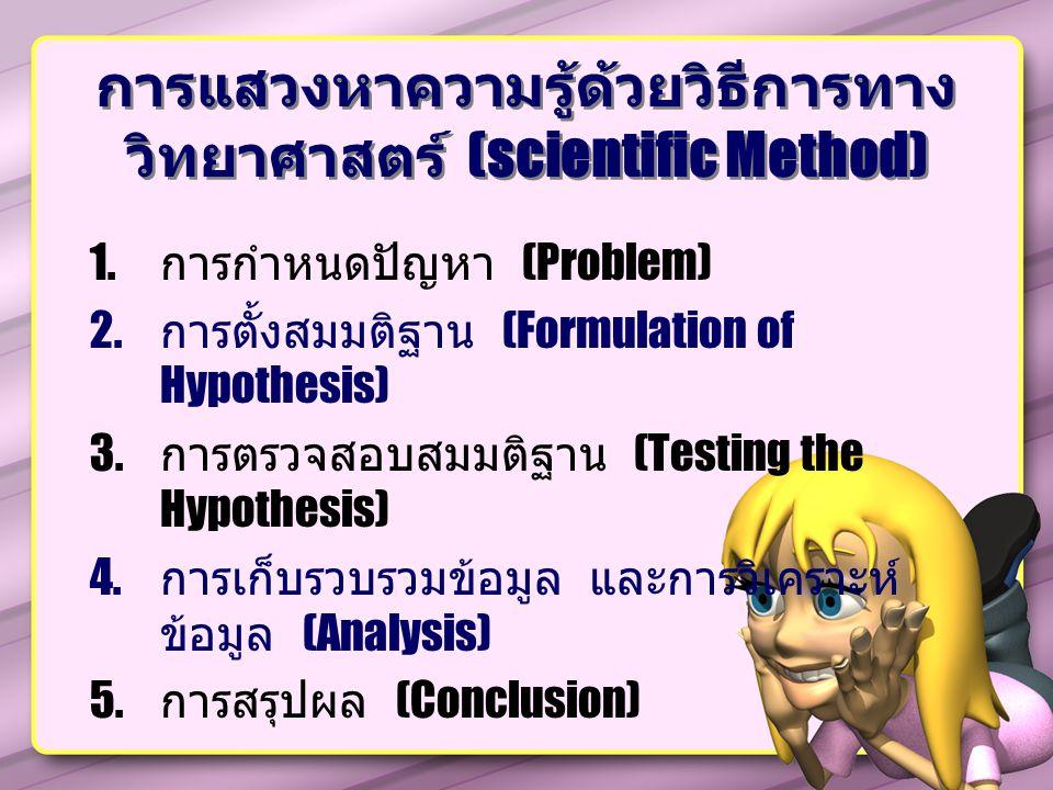 การแสวงหาความรู้ด้วยวิธีการทาง วิทยาศาสตร์ (scientific Method) 1.