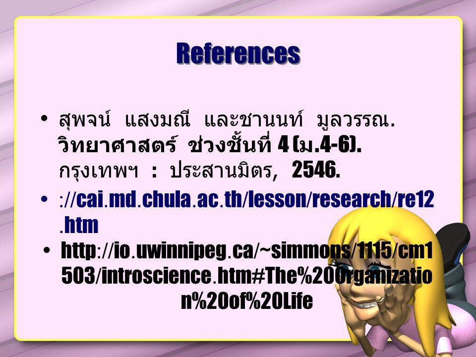 References สุพจน์ แสงมณี และชานนท์ มูลวรรณ.วิทยาศาสตร์ ช่วงชั้นที่ 4 ( ม.4-6).