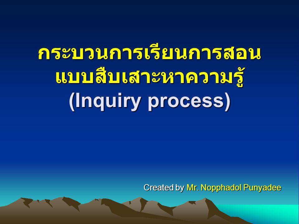 Inquiry process กระบวนการเรียนการสอนเน้นการสืบเสาะหา ความรู้จะเป็นการพัฒนาให้ผู้เรียนได้รับความรู้ และทักษะกระบวนการทางวิทยาศาสตร์ ปลูกฝังให้นักเรียนให้ความคิดของตนเอง สามารถเสาะหาความรู้ หรือวิเคราะห์ข้อมูลได้
