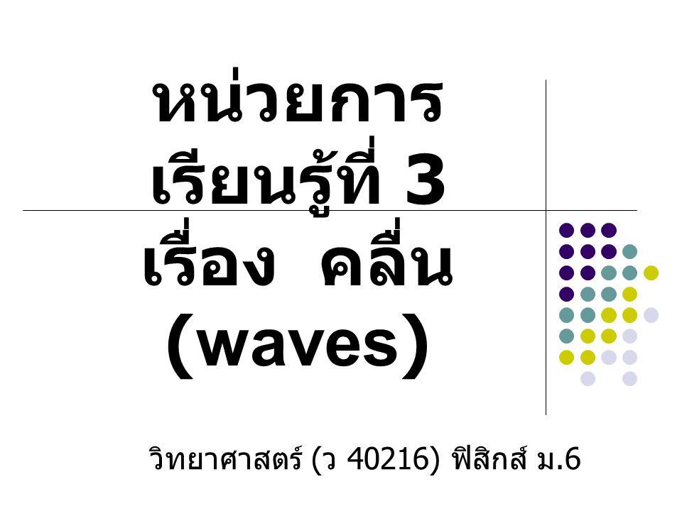 ตัวอย่างแบบฝึกหัด 1) จงหาอัตราเร็วของคลื่นแม่เหล็กไฟฟ้าในแก้ว ถ้าคลื่นนี้มีความถี่ 10 8 Hz และมีความยาวคลื่น 2 m (2 x 10 8 m/s)