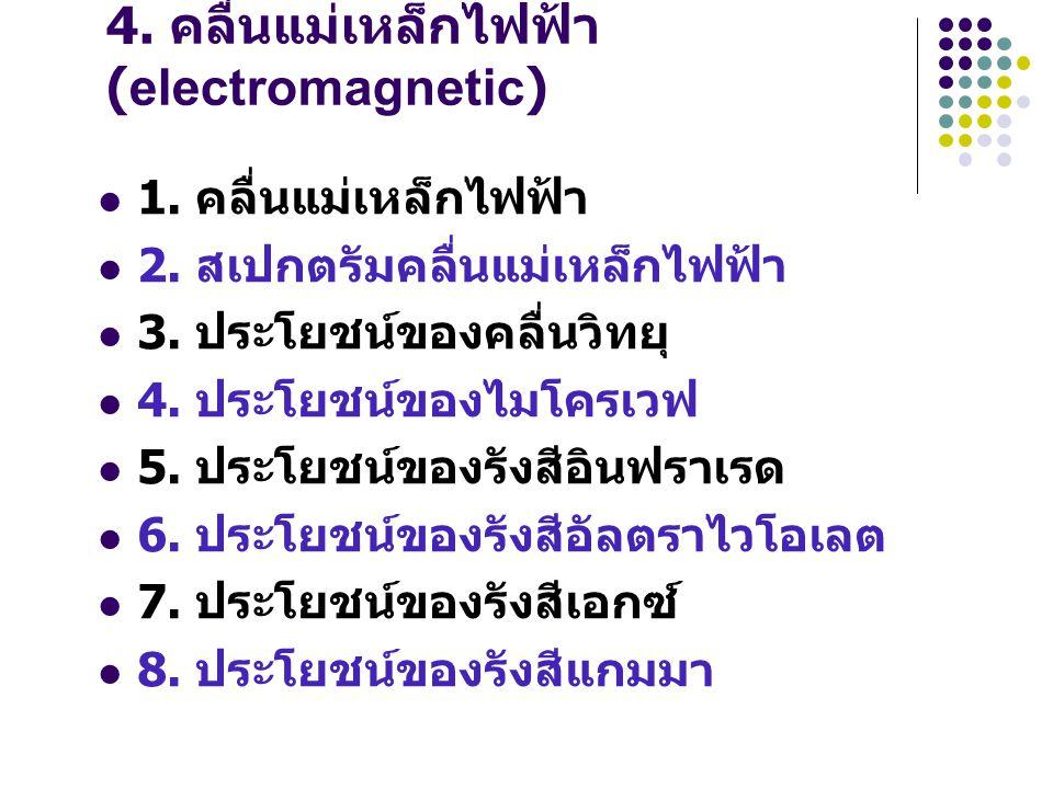 4. คลื่นแม่เหล็กไฟฟ้า (electromagnetic) 1. คลื่นแม่เหล็กไฟฟ้า 2. สเปกตรัมคลื่นแม่เหล็กไฟฟ้า 3. ประโยชน์ของคลื่นวิทยุ 4. ประโยชน์ของไมโครเวฟ 5. ประโยชน