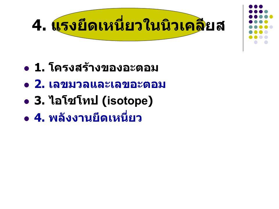 1.โครงสร้างของอะตอม 2. เลขมวลและเลขอะตอม 3. ไอโซโทป (isotope) 4.