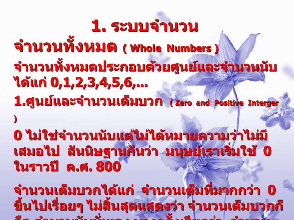1. ระบบจำนวน จำนวนทั้งหมด ( Whole Numbers ) จำนวนทั้งหมดประกอบด้วยศูนย์และจำนวนนับ ได้แก่ 0,1,2,3,4,5,6,... 1. ศูนย์และจำนวนเต็มบวก ( Zero and Positiv