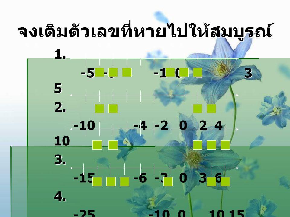 จงเติมตัวเลขที่หายไปให้สมบูรณ์ 1. -5 -3 -1 0 1 3 5 2. -10 -4 -2 0 2 4 10 3. -15 -6 -3 0 3 6 4. -25 -10 0 10 15