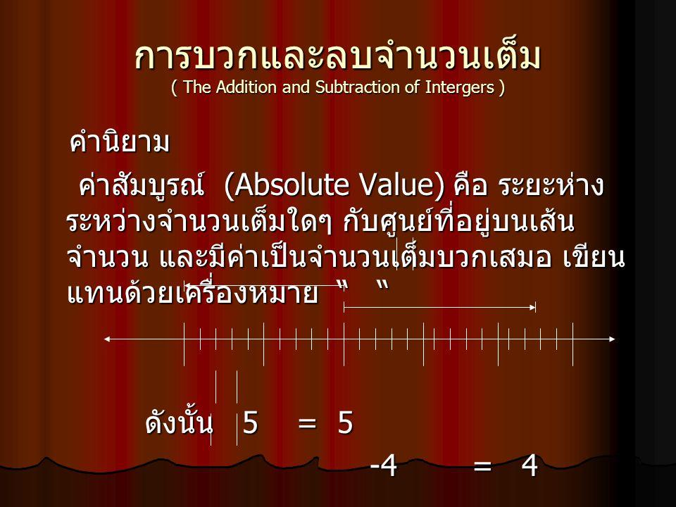 การบวกและลบจำนวนเต็ม ( The Addition and Subtraction of Intergers ) คำนิยาม คำนิยาม ค่าสัมบูรณ์ (Absolute Value) คือ ระยะห่าง ระหว่างจำนวนเต็มใดๆ กับศู
