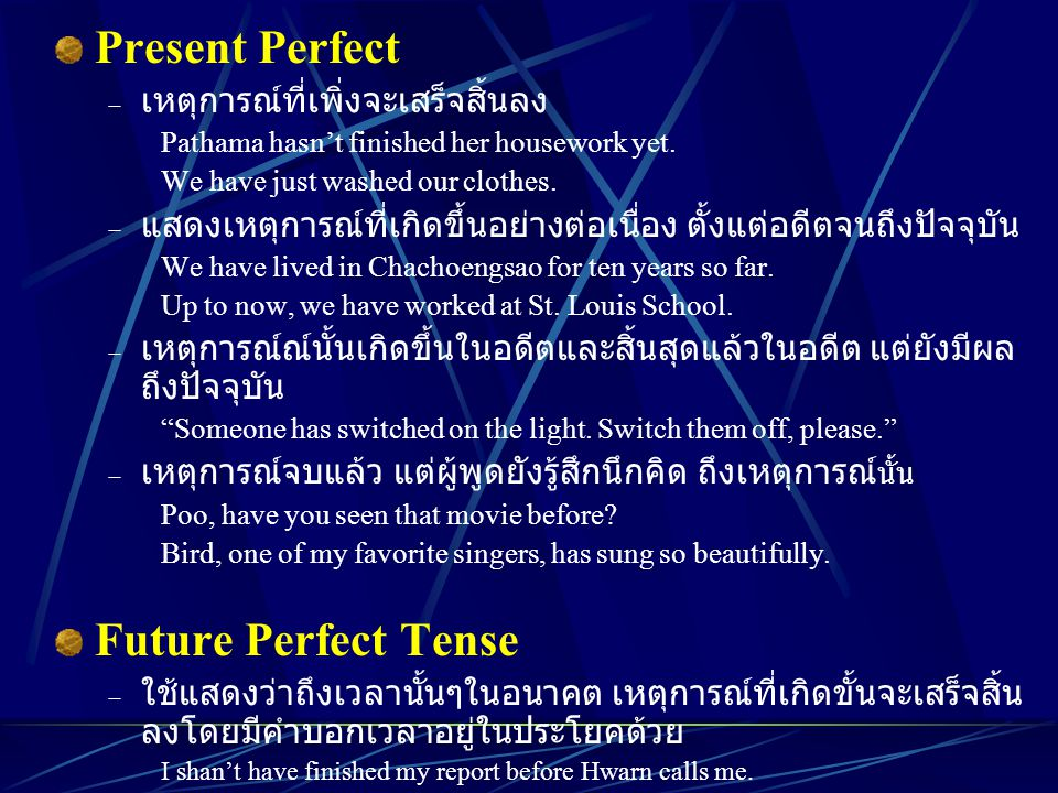 Present Perfect  เหตุการณ์ที่เพิ่งจะเสร็จสิ้นลง Pathama hasn't finished her housework yet. We have just washed our clothes.  แสดงเหตุการณ์ที่เกิดขึ้