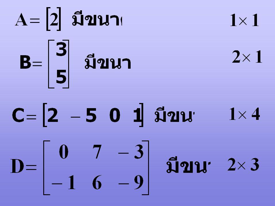 อาจเขียนเมตริกซ์ A สั้น ๆ ได้ A = [a ij ] m x n เมื่อ i = 1, 2, 3, …, m j = 1, 2, 3, …, n ขนาดของเมตริกซ์ จะบอกว่าเมตริกซ์มีกี่แถว (row) และกี่หลัก (C