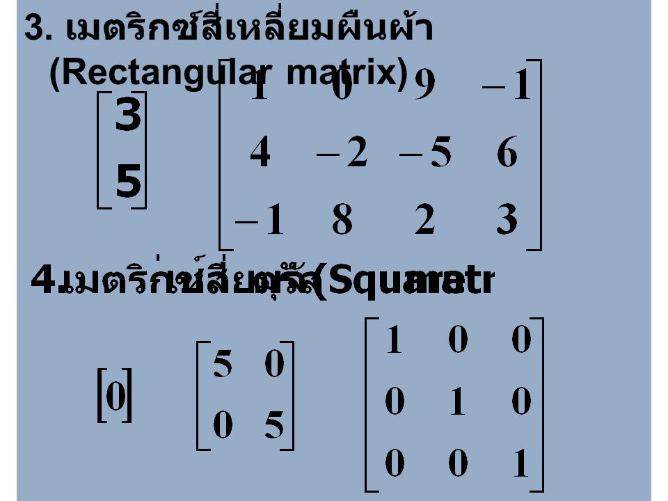3. เมตริกซ์สี่เหลี่ยมผืนผ้า (Rectangular matrix)