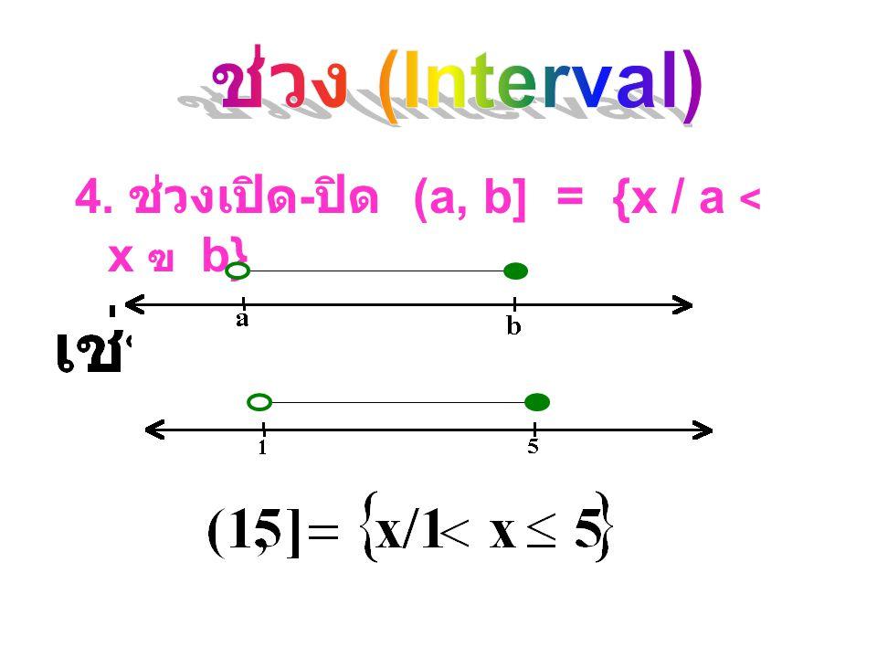 3. ช่วง ปิด - เปิด [a, b) = {x / a ฃ x  b}