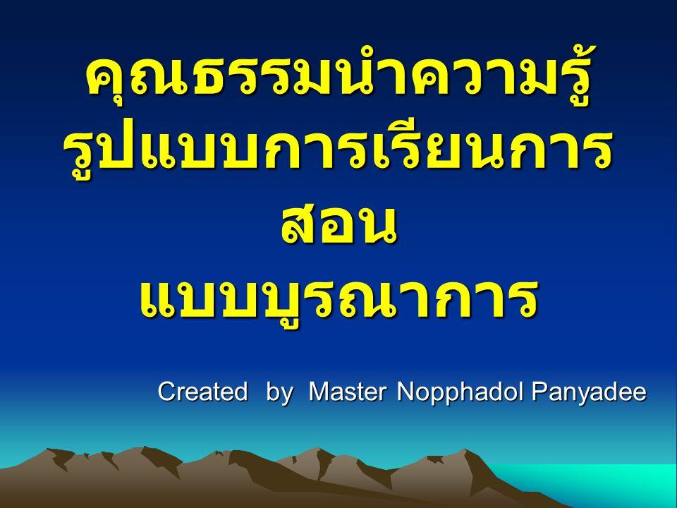 คุณธรรมนำความรู้ รูปแบบการเรียนการ สอน แบบบูรณาการ Created by Master Nopphadol Panyadee