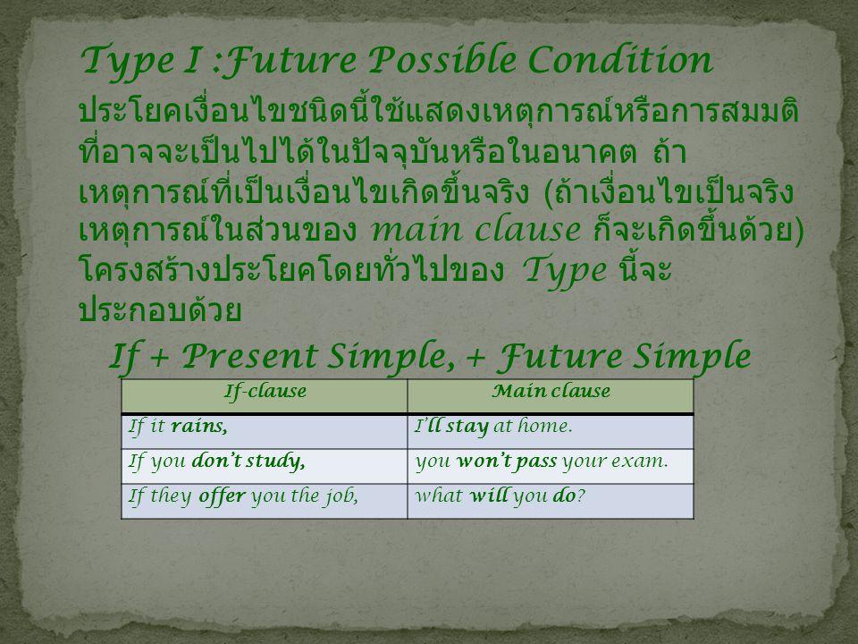 สรุปโครงสร้างประโยคเงื่อนไขชนิดต่างๆ Type If-clausemain clause I Future Possible Condition Simple Present Tense Future Simple Tense Imperative Simple Present Tense II Unreal Present or Future Condition Simple Past Tense Subject + would + V1 IIIUnreal Past Condition Past Perfect Tense Subject + would + have + V3