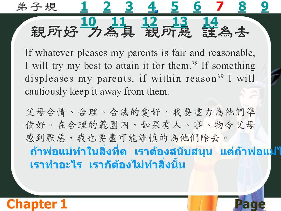 11 2 3 4 5 6 7 8 9 10 11 12 13 142345689 1011121314 ถ้าพ่อแม่ทำในสิ่งที่ด เราต้องสนับสนุน แต่ถ้าพ่อแม่ไม่ชอบให้ เราทำอะไร เราก็ต้องไม่ทำสิ่งนั้น Chapt