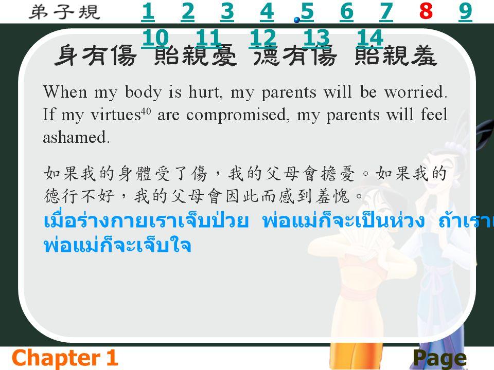 11 2 3 4 5 6 7 8 9 10 11 12 13 142345679 1011121314 เมื่อร่างกายเราเจ็บป่วย พ่อแม่ก็จะเป็นห่วง ถ้าเราเป็นคนไม่ดี พ่อแม่ก็จะเจ็บใจ Chapter 1Page 08/1 4