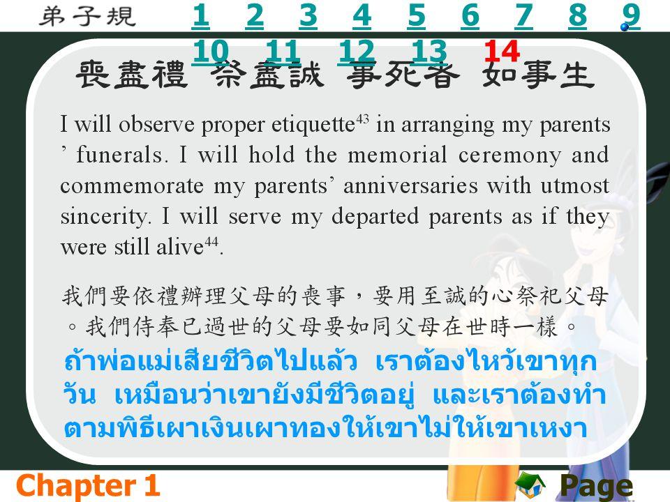 11 2 3 4 5 6 7 8 9 10 11 12 13 1423456789 10111213 ถ้าพ่อแม่เสียชีวิตไปแล้ว เราต้องไหว้เขาทุก วัน เหมือนว่าเขายังมีชีวิตอยู่ และเราต้องทำ ตามพิธีเผาเง