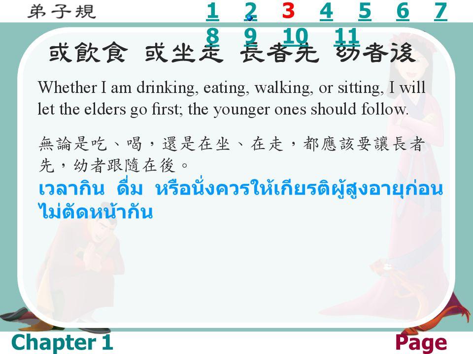 11 2 3 4 5 6 7 8 9 10 1124567 891011 เวลากิน ดื่ม หรือนั่งควรให้เกียรติผู้สูงอายุก่อน ไม่ตัดหน้ากัน Chapter 1Page 03/1 1