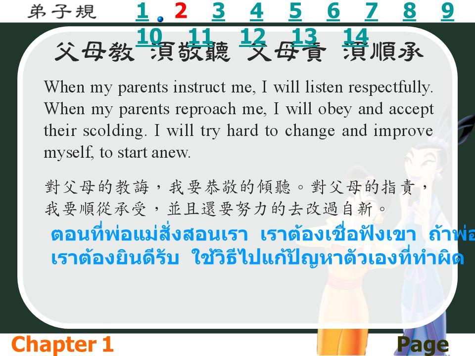 11 2 3 4 5 6 7 8 9 10 11 12 13 143456789 1011121314 ตอนที่พ่อแม่สั่งสอนเรา เราต้องเชื่อฟังเขา ถ้าพ่อแม่ตำหนิ เราต้องยินดีรับ ใช้วิธีไปแก้ปัญหาตัวเองที