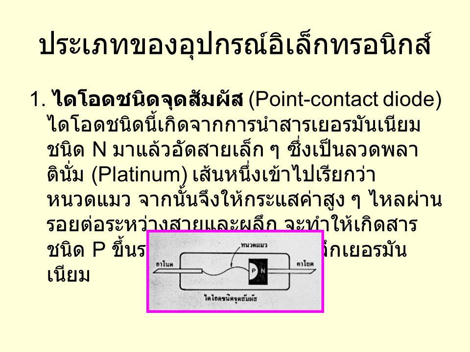 ประเภทของอุปกรณ์อิเล็กทรอนิกส์ 1. ไดโอดชนิดจุดสัมผัส (Point-contact diode) ไดโอดชนิดนี้เกิดจากการนำสารเยอรมันเนียม ชนิด N มาแล้วอัดสายเล็ก ๆ ซึ่งเป็นล