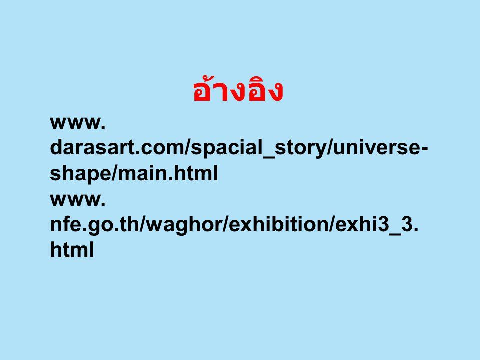 อ้างอิง www. darasart.com/spacial_story/universe- shape/main.html www. nfe.go.th/waghor/exhibition/exhi3_3. html