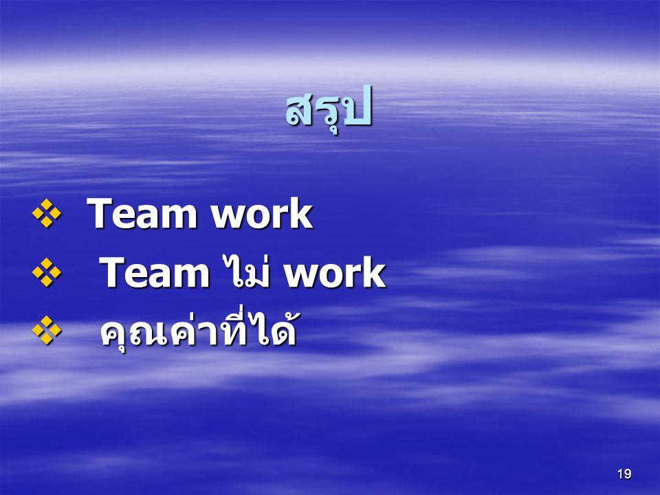 19 สรุป  Team work  Team ไม่ work  คุณค่าที่ได้