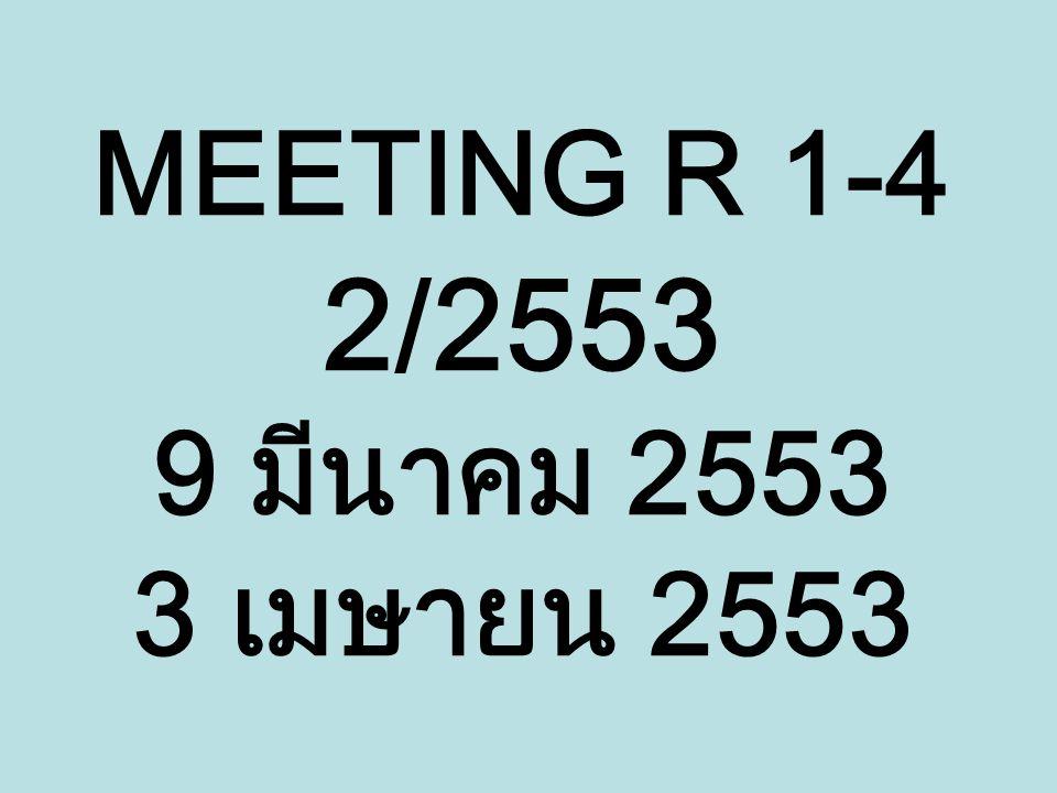สรุปการประชุม 3 April 53 บัญชีคู่ จ้างคนมาตรฐานทางบัญชีมาดูแลบัญชี 4R ทาบทามคุณบุญเอิบ มีค่าตอบแทนต่างหาก เพิ่ม TOR 2 ข้อ คือ ทำให้นักบัญชีของ 4R ทำบัญชีได้ และ เป็นที่ปรึกษาให้ 4R การเงิน R1 พวงเพ็ญ การเงิน R2 ไม่มี การเงิน R3 รอกีเยาะห์ การเงิน R4 ฮัสนะ ข้อตกลงจากการประชุม