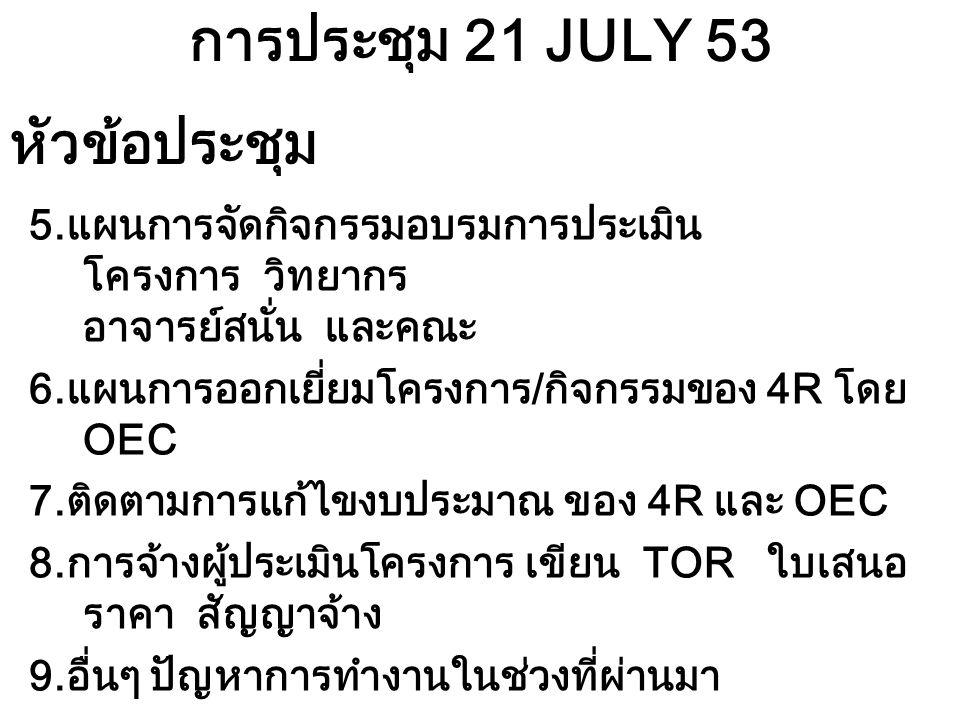 การประชุม 21 JULY 53 5.แผนการจัดกิจกรรมอบรมการประเมิน โครงการ วิทยากร อาจารย์สนั่น และคณะ 6.แผนการออกเยี่ยมโครงการ/กิจกรรมของ 4R โดย OEC 7.ติดตามการแก