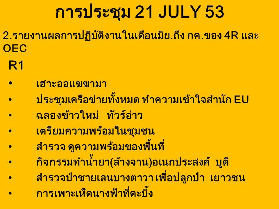 การประชุม 21 JULY 53 R1 เฮาะออแฆฆามา ประชุมเครือข่ายทั้งหมด ทำความเข้าใจสำนัก EU ฉลองข้าวใหม่ ทัวร์อ่าว เตรียมความพร้อมในชุมชน สำรวจ ดูความพร้อมของพื้