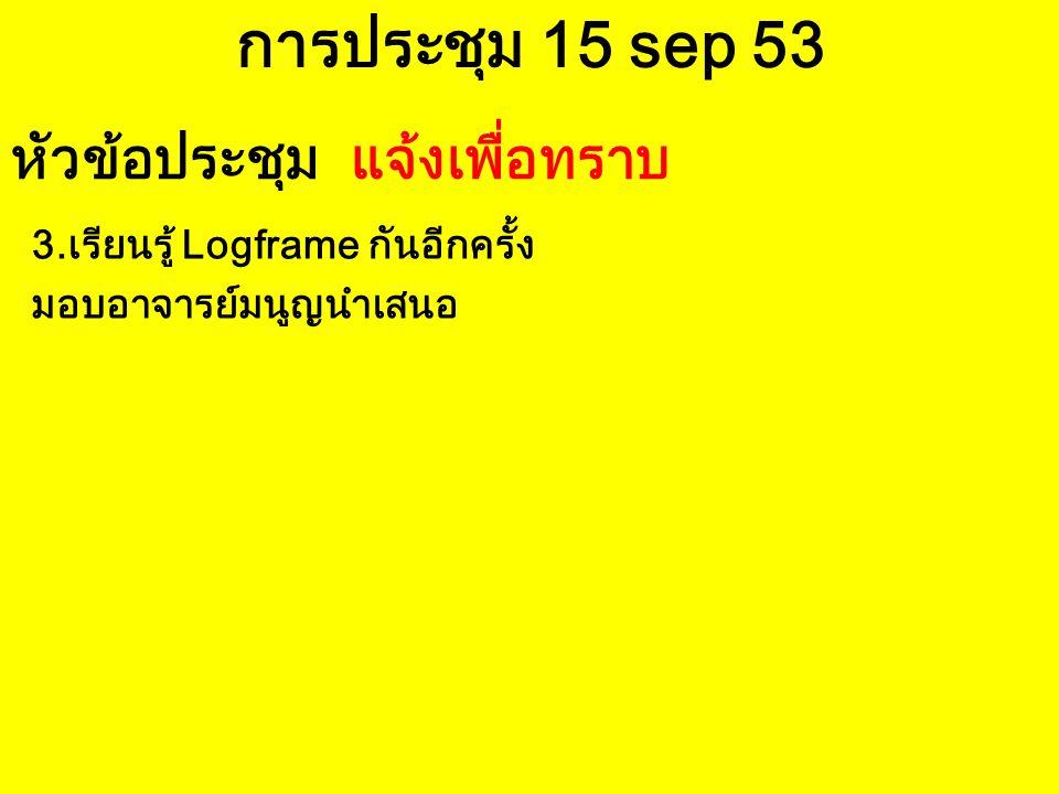 การประชุม 15 sep 53 3.เรียนรู้ Logframe กันอีกครั้ง มอบอาจารย์มนูญนำเสนอ หัวข้อประชุม แจ้งเพื่อทราบ