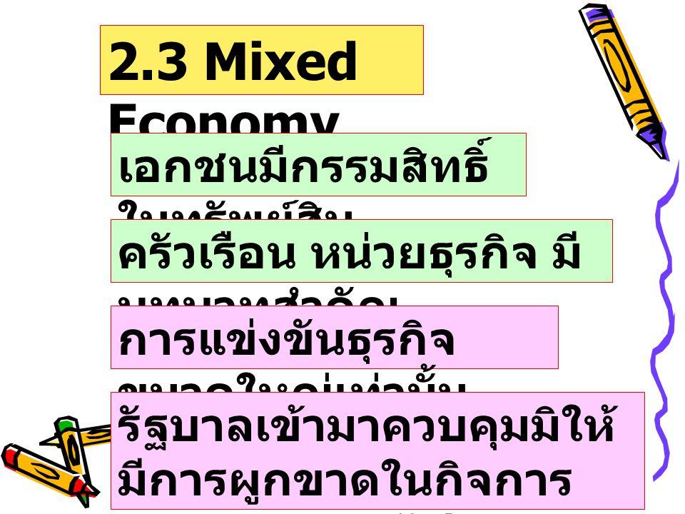 ระบบเศรษฐกิจแบ่ง 4 ประการ 1. Capitalis m Compe tition 2. Socialis m