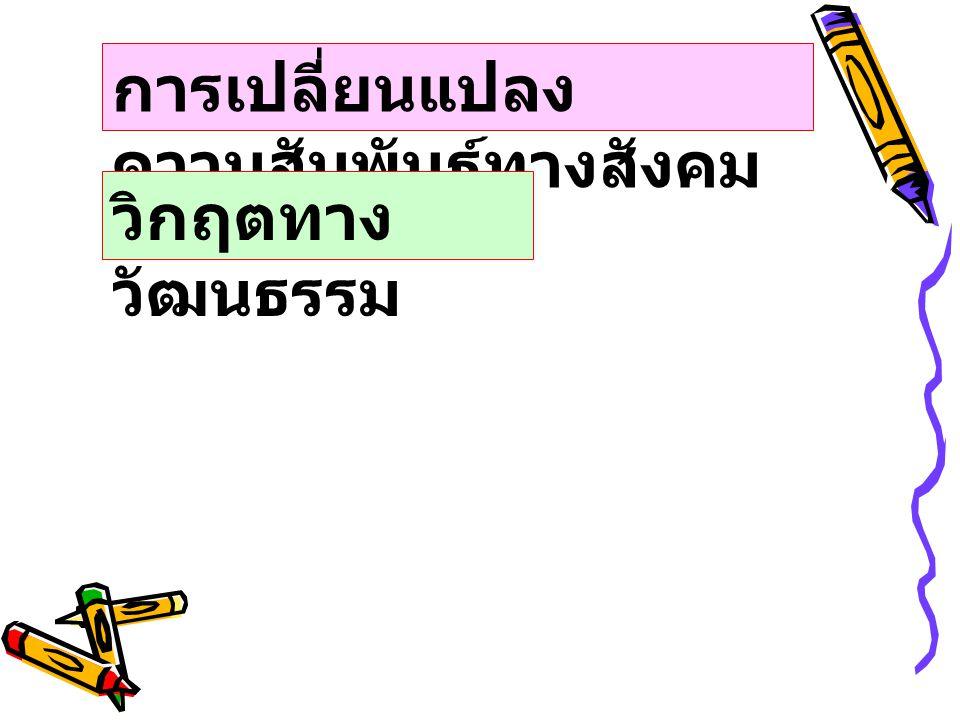 ลักษณะเศรษฐกิจ ของสังคมไทย ระบบเศรษฐกิจไทยขึ้นอยู่ กับผลิตผลทางการเกษตร เป็นส่วนใหญ่ ถูกครอบงำโดย ต่างชาติเป็นส่วนใหญ่
