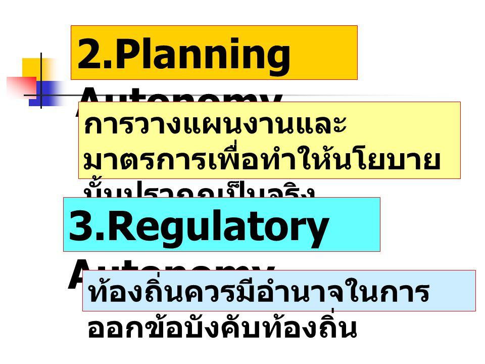 2.Planning Autonomy การวางแผนงานและ มาตรการเพื่อทำให้นโยบาย นั้นปรากฏเป็นจริง 3.Regulatory Autonomy ท้องถิ่นควรมีอำนาจในการ ออกข้อบังคับท้องถิ่น