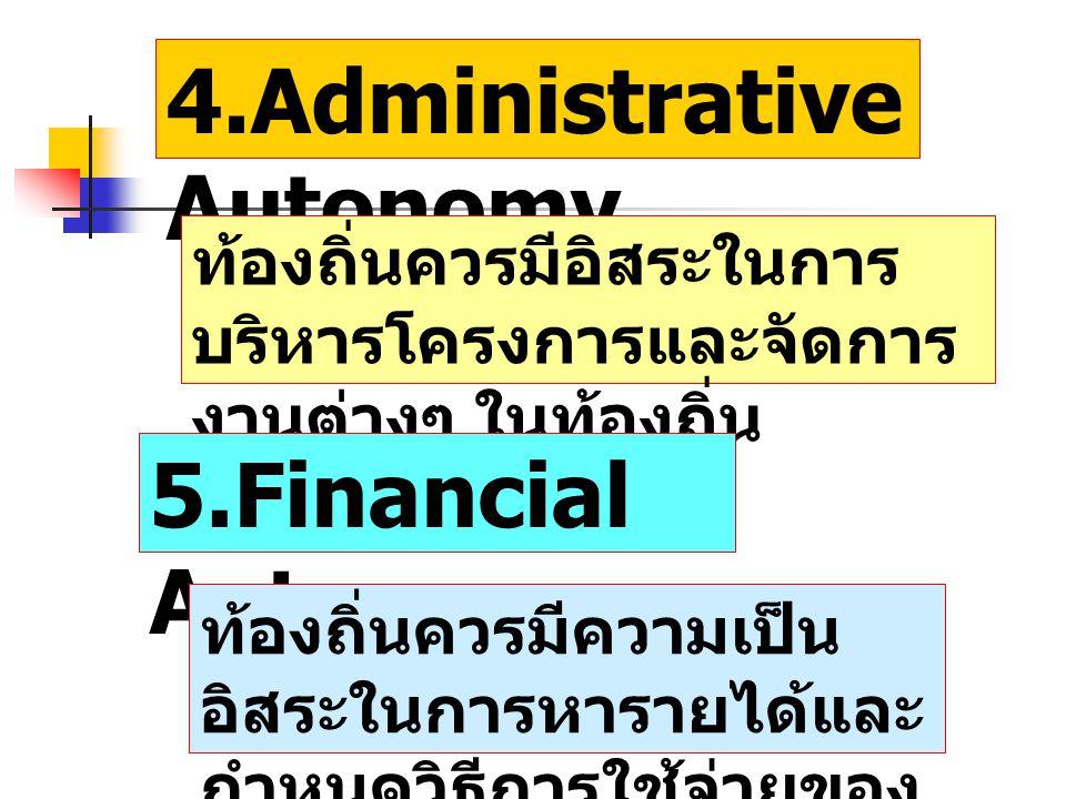4.Administrative Autonomy ท้องถิ่นควรมีอิสระในการ บริหารโครงการและจัดการ งานต่างๆ ในท้องถิ่น 5.Financial Autonomy ท้องถิ่นควรมีความเป็น อิสระในการหารา