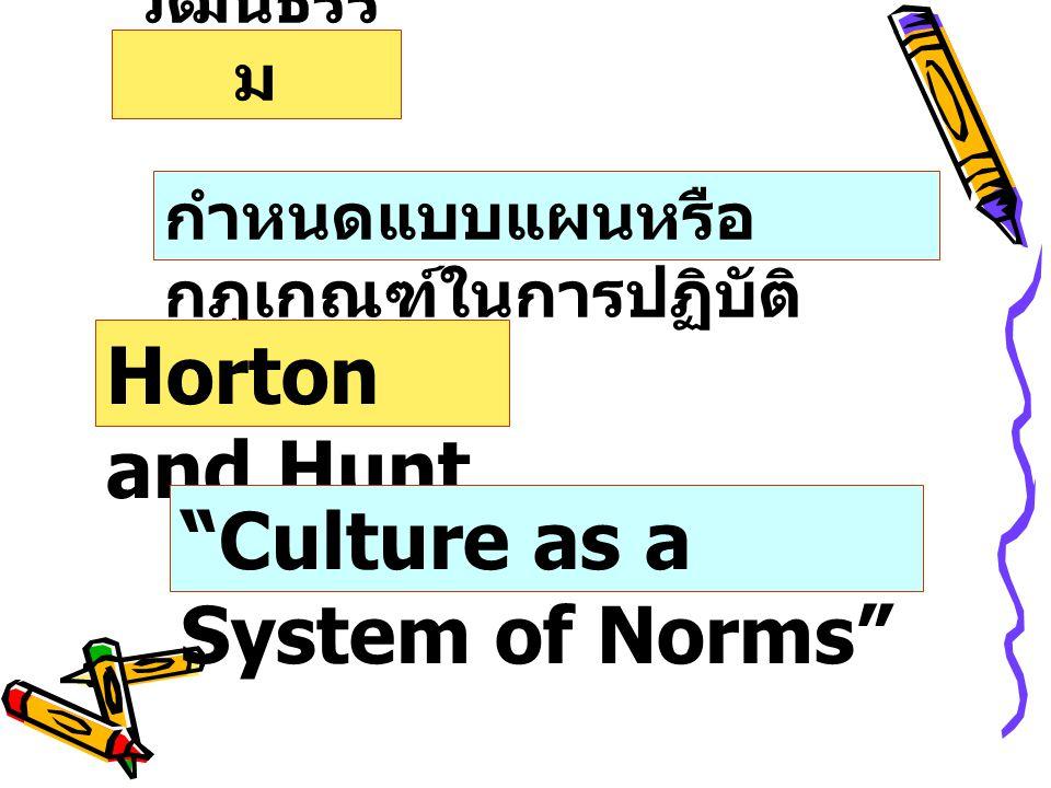 วัฒนธรร ม กำหนดแบบแผนหรือ กฎเกณฑ์ในการปฏิบัติ Horton and Hunt Culture as a System of Norms