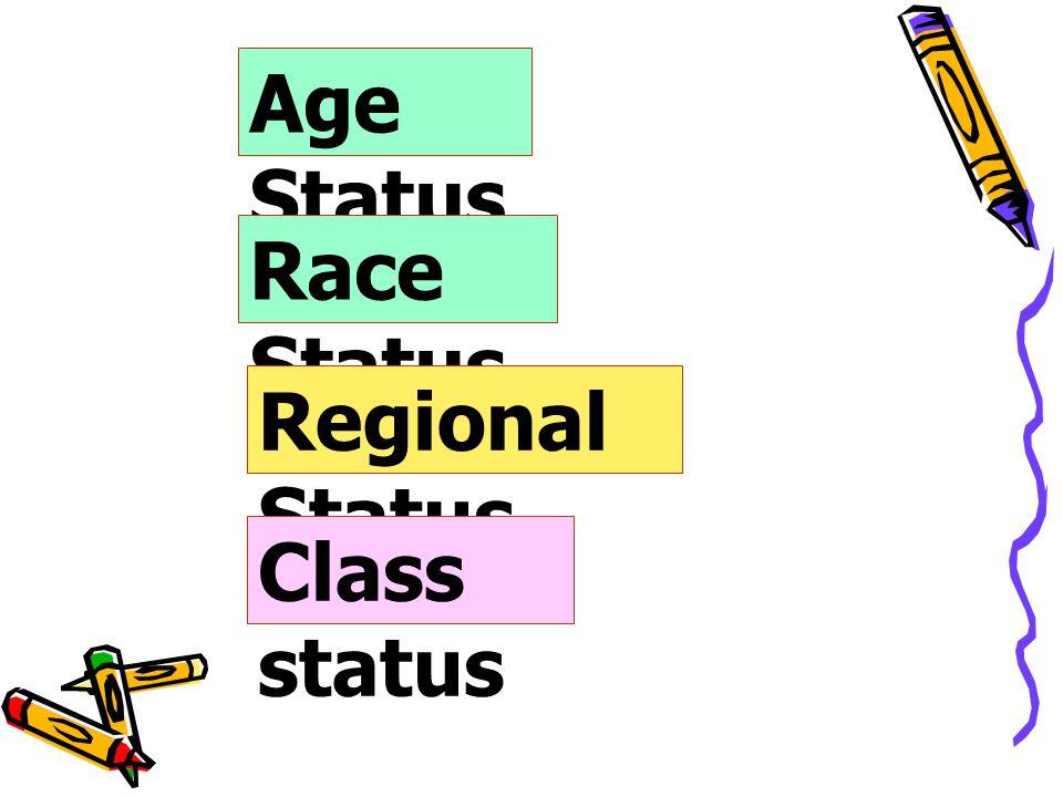 Age Status Race Status Regional Status Class status