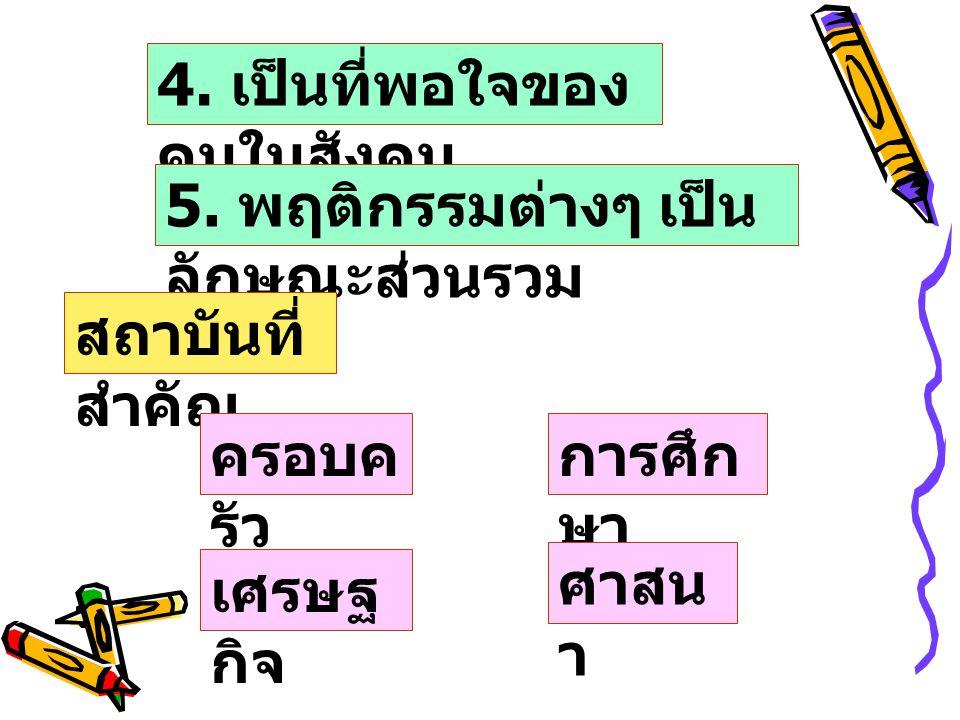 4.เป็นที่พอใจของ คนในสังคม 5.