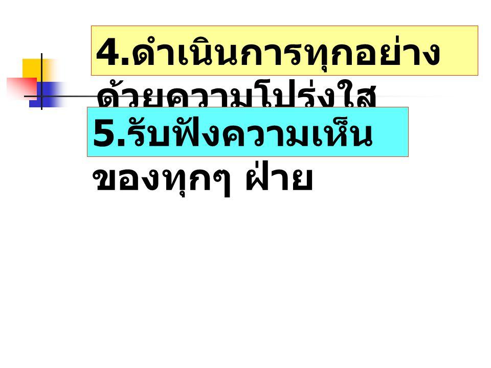 4. ดำเนินการทุกอย่าง ด้วยความโปร่งใส 5. รับฟังความเห็น ของทุกๆ ฝ่าย