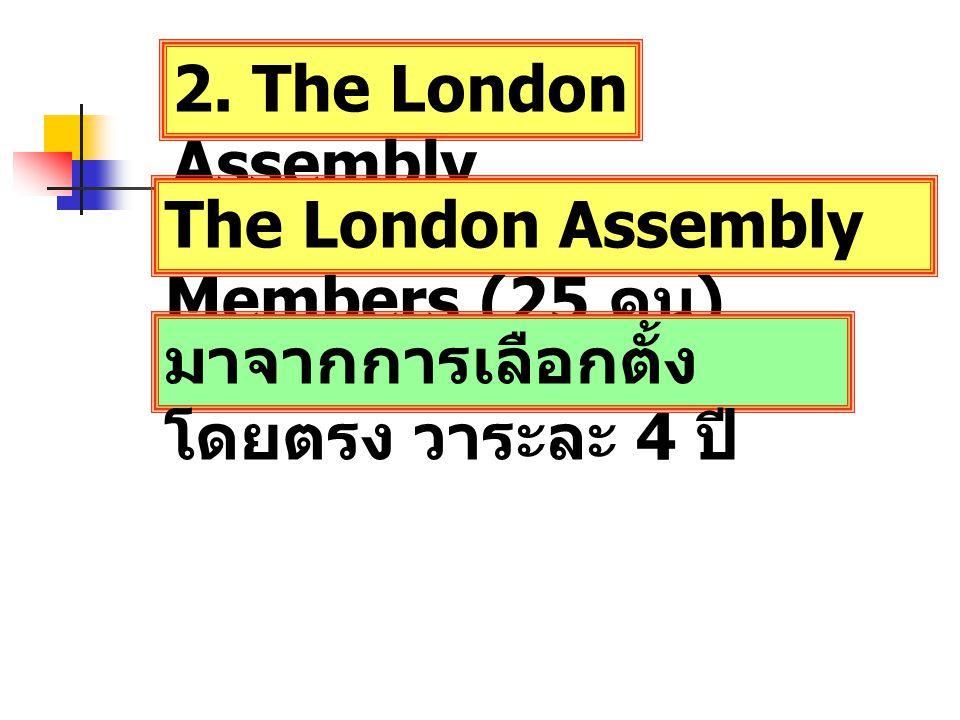 2. The London Assembly The London Assembly Members (25 คน ) มาจากการเลือกตั้ง โดยตรง วาระละ 4 ปี
