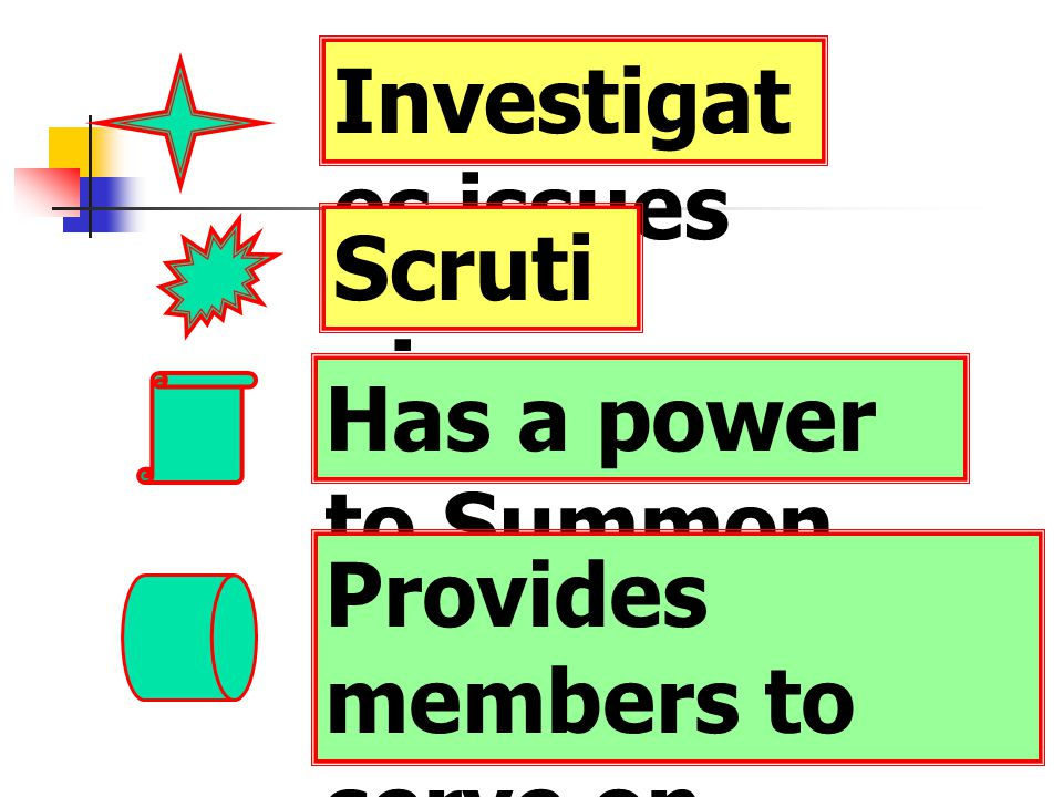 Investigat es issues Scruti nises Has a power to Summon Provides members to serve on