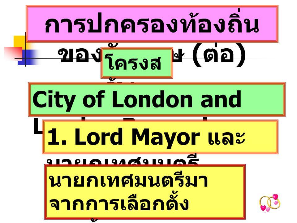 การปกครองท้องถิ่น ของอังกฤษ ( ต่อ ) โครงส ร้าง City of London and London Boroughs 1.