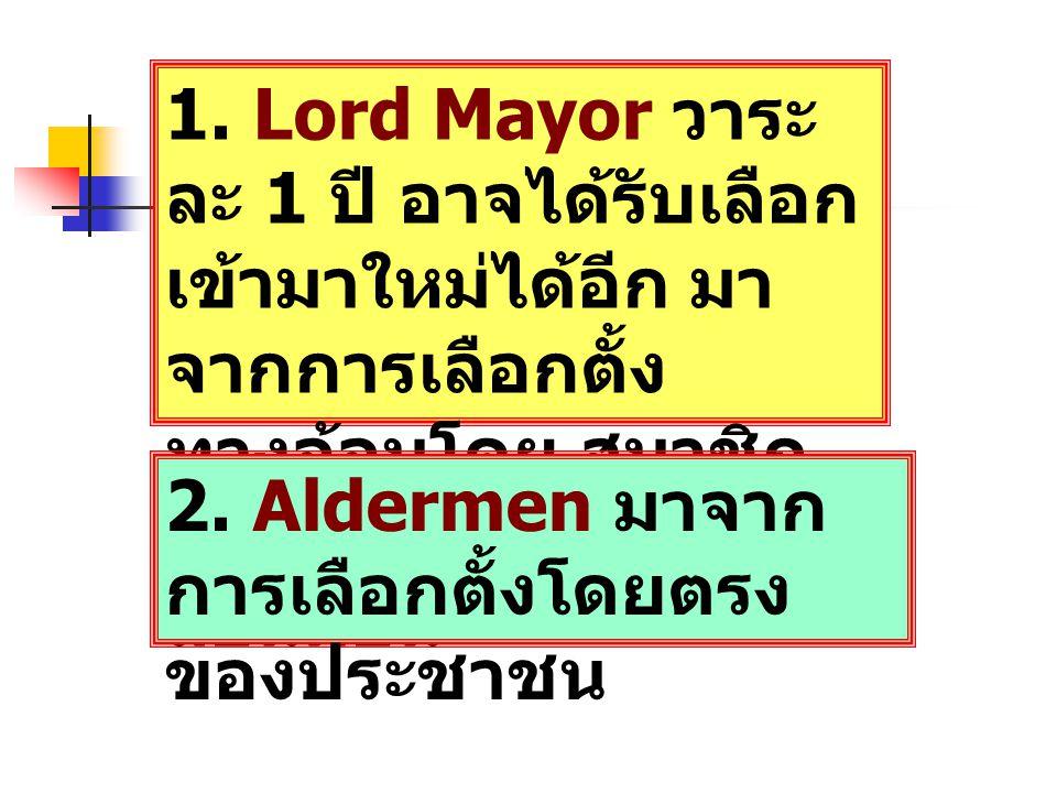 1. Lord Mayor วาระ ละ 1 ปี อาจได้รับเลือก เข้ามาใหม่ได้อีก มา จากการเลือกตั้ง ทางอ้อมโดย สมาชิก สภาเทศบาลนคร ลอนดอน 2. Aldermen มาจาก การเลือกตั้งโดยต