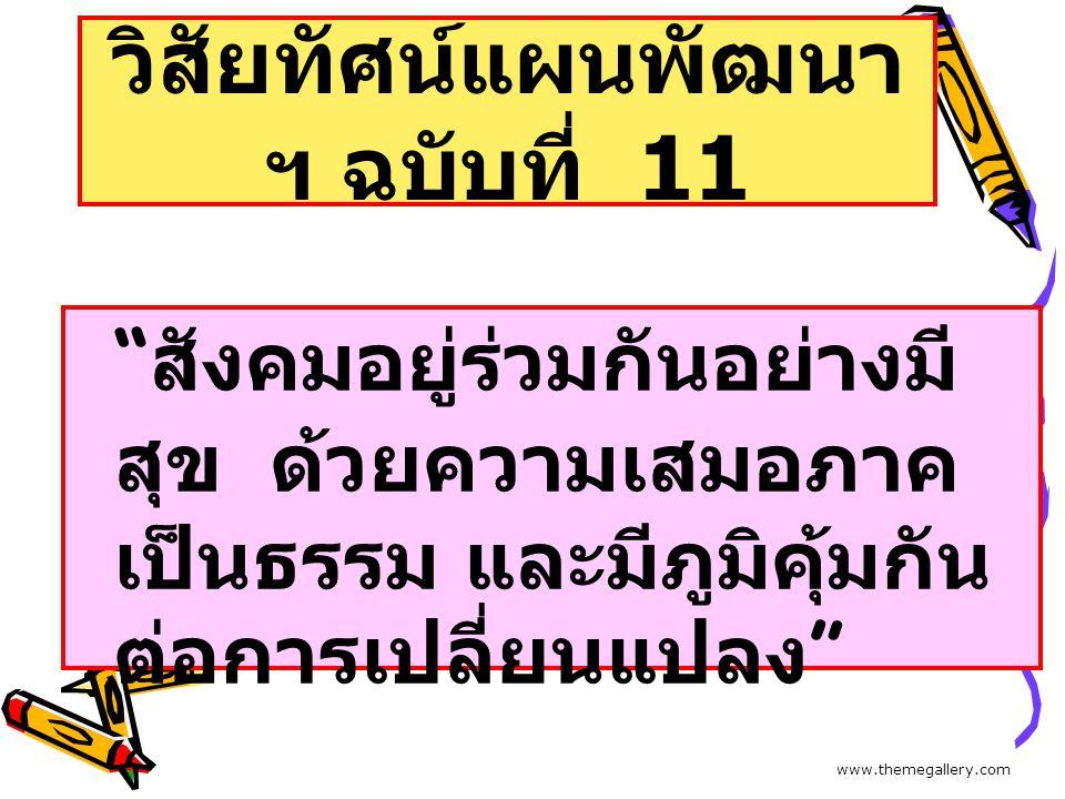 """วิสัยทัศน์แผนพัฒนา ฯ ฉบับที่ 11 """" สังคมอยู่ร่วมกันอย่างมี สุข ด้วยความเสมอภาค เป็นธรรม และมีภูมิคุ้มกัน ต่อการเปลี่ยนแปลง """" www.themegallery.com"""
