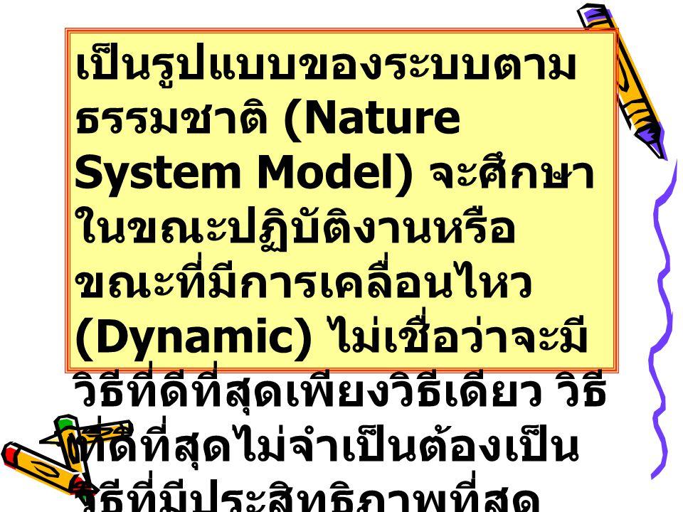 เป็นรูปแบบของระบบตาม ธรรมชาติ (Nature System Model) จะศึกษา ในขณะปฏิบัติงานหรือ ขณะที่มีการเคลื่อนไหว (Dynamic) ไม่เชื่อว่าจะมี วิธีที่ดีที่สุดเพียงวิธีเดียว วิธี ที่ดีที่สุดไม่จำเป็นต้องเป็น วิธีที่มีประสิทธิภาพที่สุด