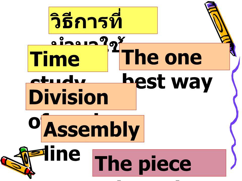 วิธีการที่ นำมาใช้ Time study The one best way Division of work Assembly line The piece rate system