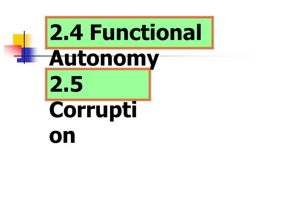 2.4 Functional Autonomy 2.5 Corrupti on