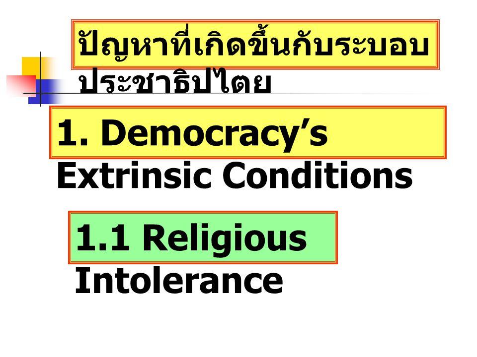 ปัญหาที่เกิดขึ้นกับระบอบ ประชาธิปไตย 1. Democracy's Extrinsic Conditions 1.1 Religious Intolerance