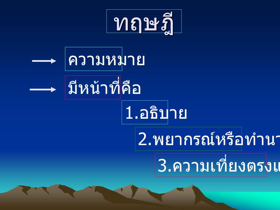 ทฤษฎี ความหมาย มีหน้าที่คือ 1. อธิบาย 2. พยากรณ์หรือทำนาย 3. ความเที่ยงตรงแม่นยำ