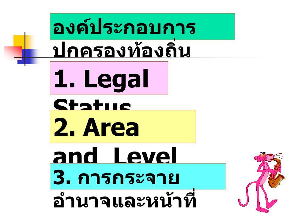 องค์ประกอบการ ปกครองท้องถิ่น 1. Legal Status 2. Area and Level 3. การกระจาย อำนาจและหน้าที่