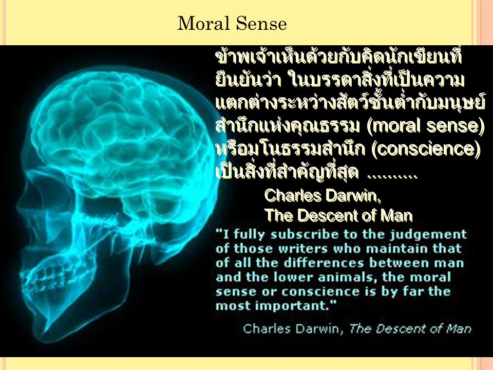 Moral Sense ข้าพเจ้าเห็นด้วยกับคิดนักเขียนที่ ยืนยันว่า ในบรรดาสิ่งที่เป็นความ แตกต่างระหว่างสัตว์ชั้นต่ำกับมนุษย์ สำนึกแห่งคุณธรรม (moral sense) หรือมโนธรรมสำนึก (conscience) เป็นสิ่งที่สำคัญที่สุด..........