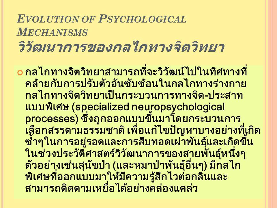 E VOLUTION OF P SYCHOLOGICAL M ECHANISMS วิวัฒนาการของกลไกทางจิตวิทยา กลไกทางจิตวิทยาสามารถที่จะวิวัฒน์ไปในทิศทางที่ คล้ายกับการปรับตัวอันซับซ้อนในกลไกทางร่างกาย กลไกทางจิตวิทยาเป็นกระบวนการทางจิต-ประสาท แบบพิเศษ (specialized neuropsychological processes) ซึ่งถูกออกแบบขึ้นมาโดยกระบวนการ เลือกสรรตามธรรมชาติ เพื่อแก้ไขปัญหาบางอย่างที่เกิด ซ้ำๆในการอยู่รอดและการสืบทอดเผ่าพันธุ์และเกิดขึ้น ในช่วงประวัติศาสตร์วิวัฒนาการของสายพันธุ์หนึ่งๆ ตัวอย่างเช่นสุนัขป่า (และหมาป่าพันธุ์อื่นๆ) มีกลไก พิเศษที่ออกแบบมาให้มีความรู้สึกไวต่อกลิ่นและ สามารถติดตามเหยื่อได้อย่างคล่องแคล่ว