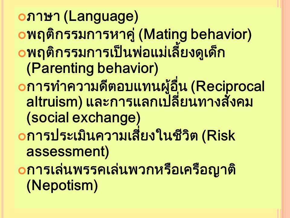 ภาษา (Language) พฤติกรรมการหาคู่ (Mating behavior) พฤติกรรมการเป็นพ่อแม่เลี้ยงดูเด็ก (Parenting behavior) การทำความดีตอบแทนผู้อื่น (Reciprocal altruism) และการแลกเปลี่ยนทางสังคม (social exchange) การประเมินความเสี่ยงในชีวิต (Risk assessment) การเล่นพรรคเล่นพวกหรือเครือญาติ (Nepotism) ภาษา (Language) พฤติกรรมการหาคู่ (Mating behavior) พฤติกรรมการเป็นพ่อแม่เลี้ยงดูเด็ก (Parenting behavior) การทำความดีตอบแทนผู้อื่น (Reciprocal altruism) และการแลกเปลี่ยนทางสังคม (social exchange) การประเมินความเสี่ยงในชีวิต (Risk assessment) การเล่นพรรคเล่นพวกหรือเครือญาติ (Nepotism)